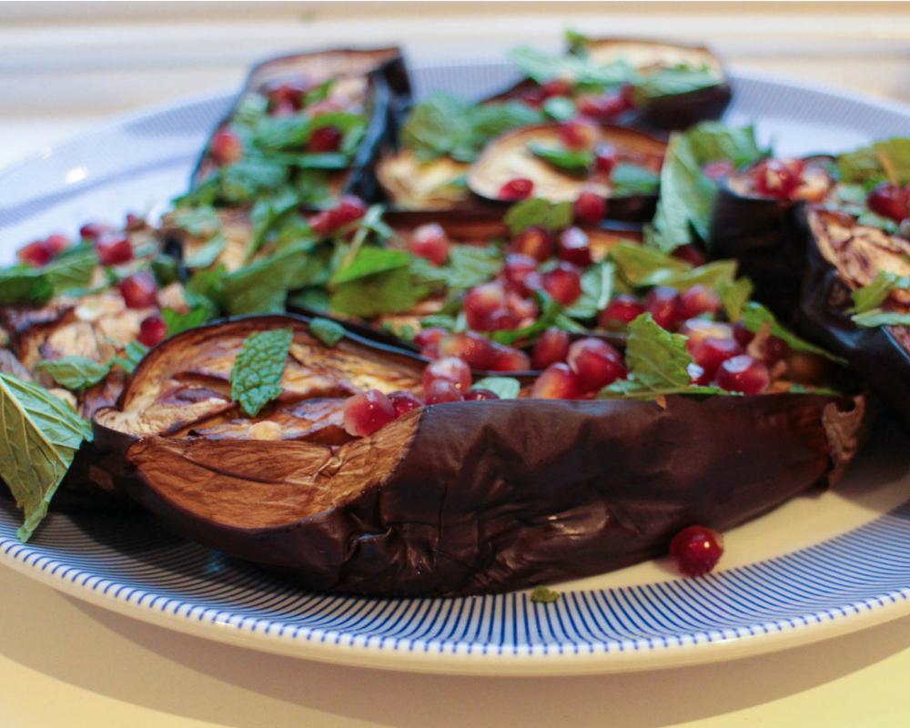 aubergine pomegranate basil vegan dinner plate
