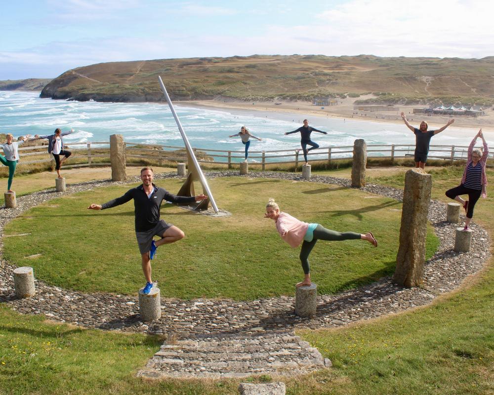 group shot balance yoga poses