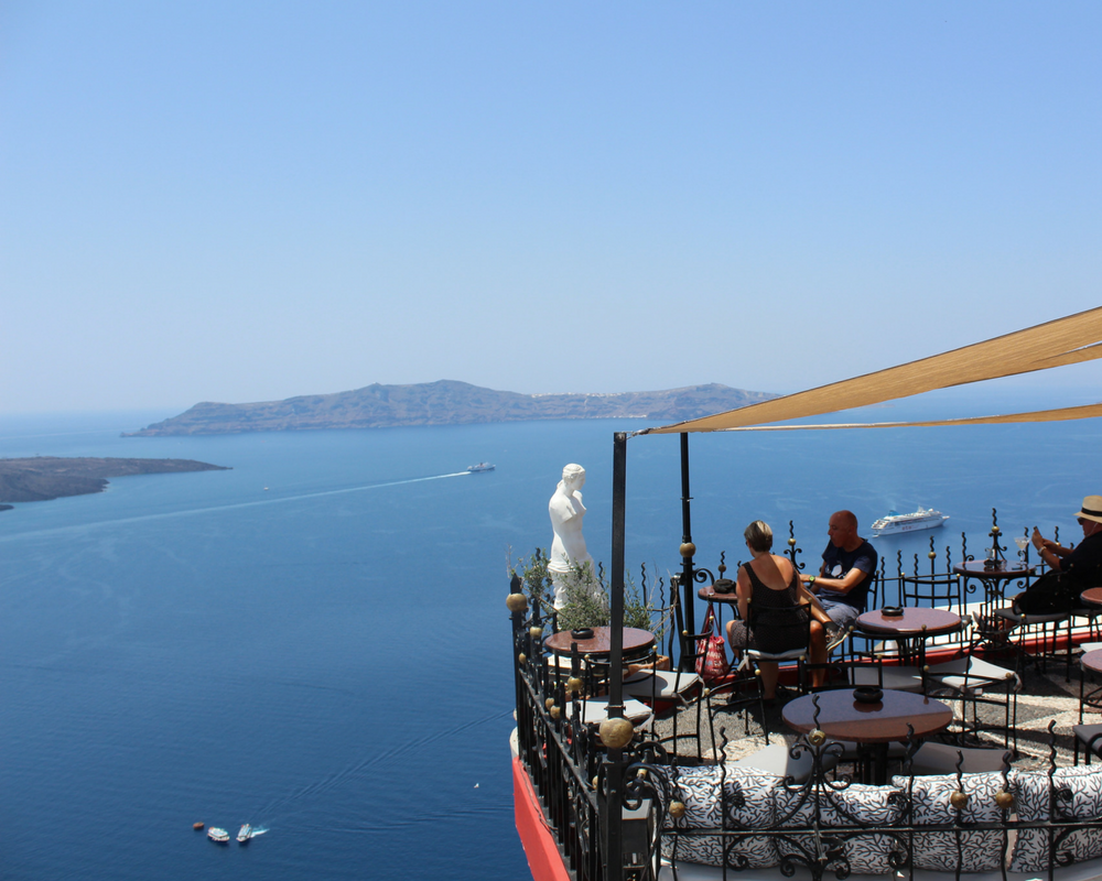 restaurant above caldera sea, santorini greece