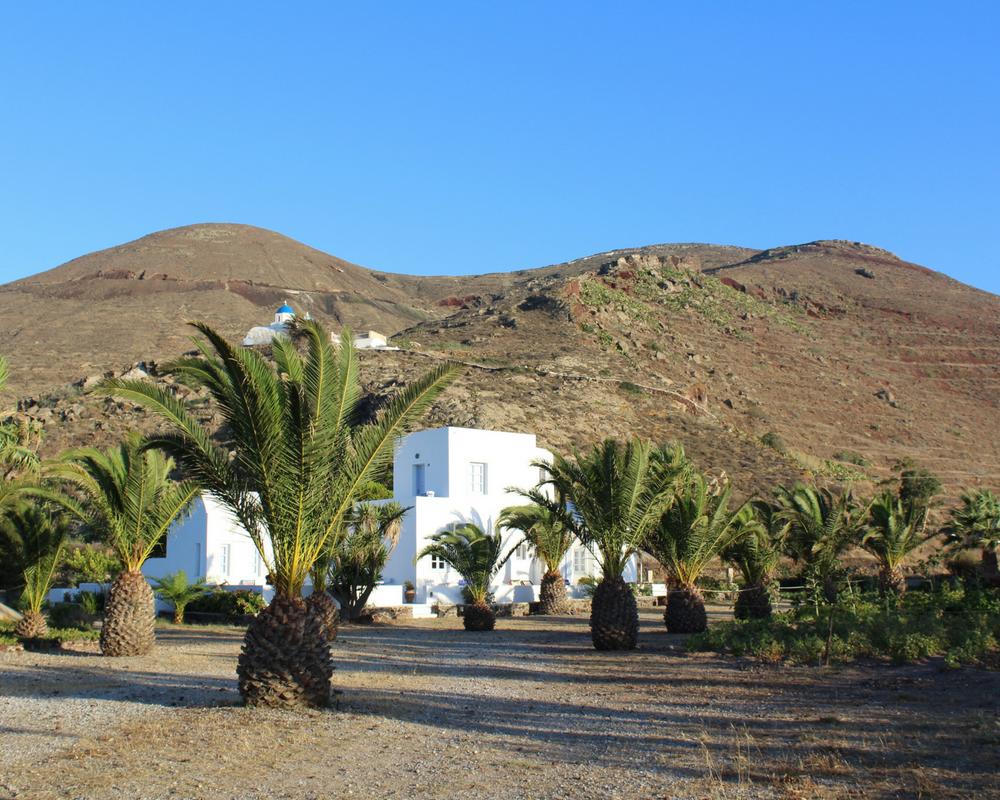 white building palm trees hills church blue sky