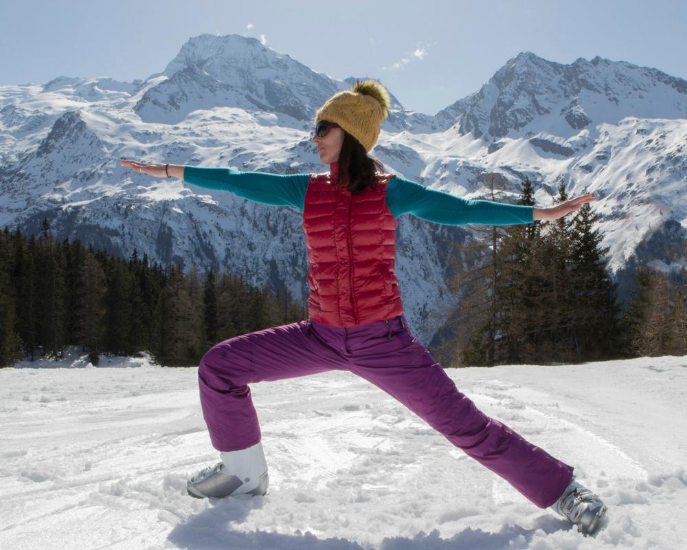 Warrior pose on the ski slopes