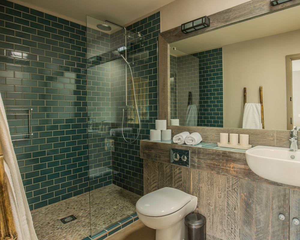 Bathroom with sink and shower - norfolk yoga retreat