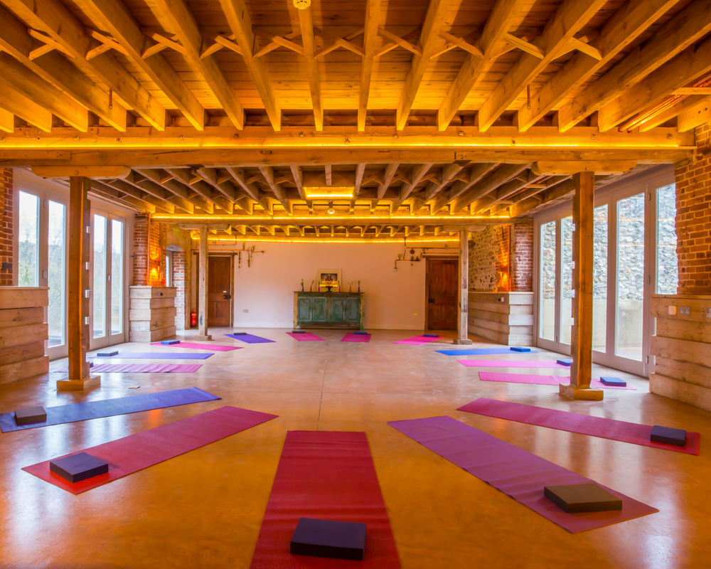Yoga studio and mats laid out - august bank holiday yoga retreat norfolk