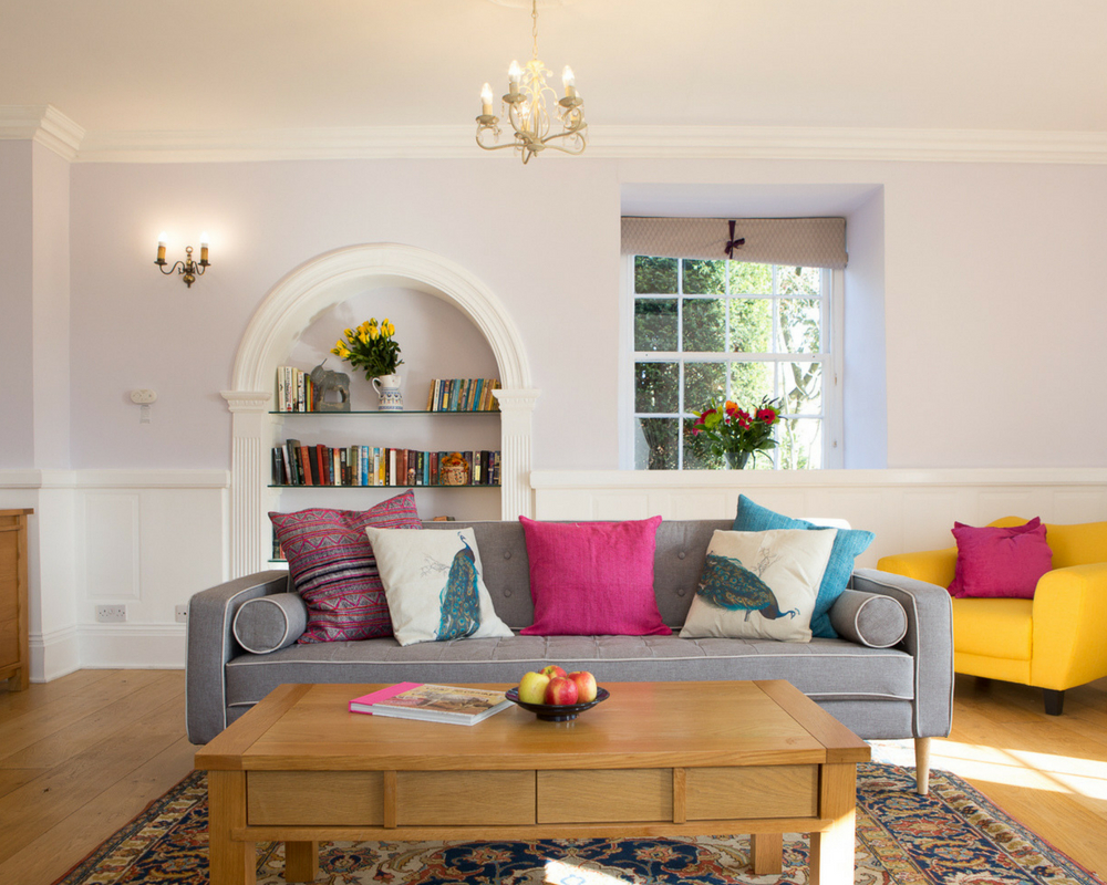 Lounge with sofa and coffee table yoga retreat thrupp