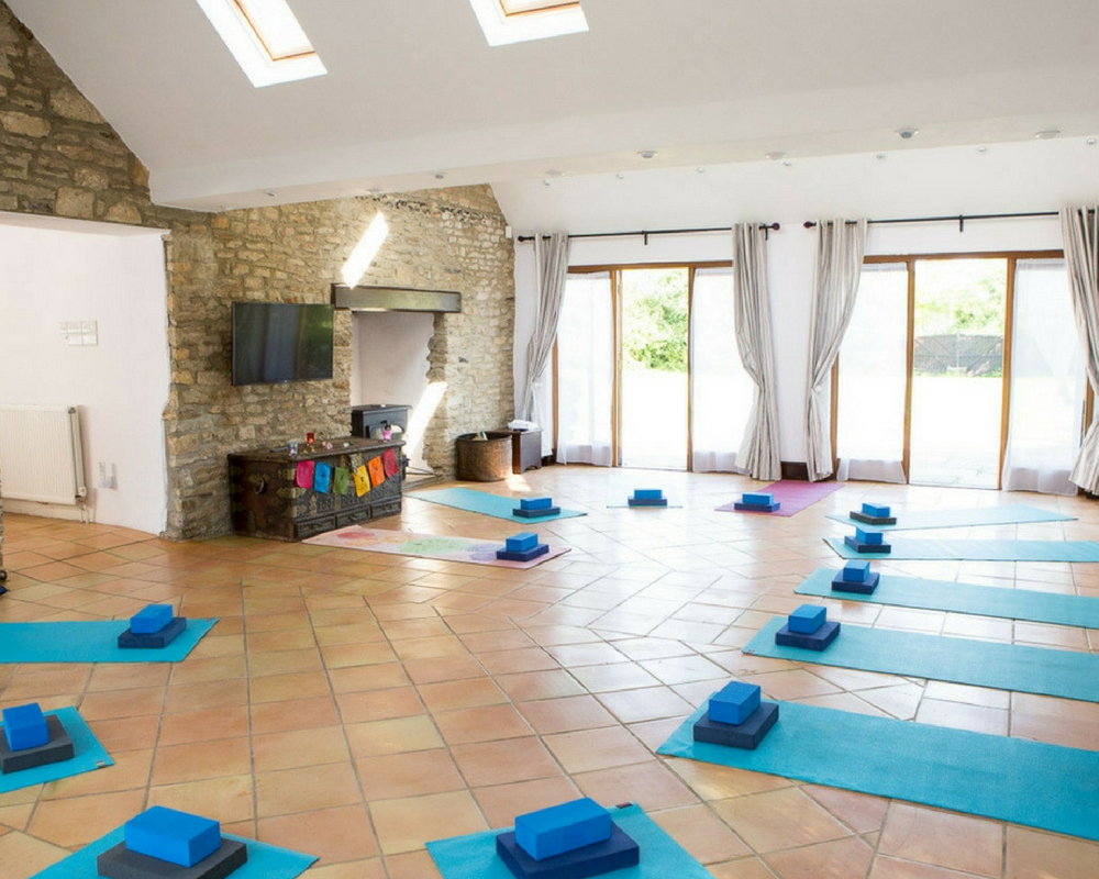 Yoga space with yoga mats yoga retreat thrupp