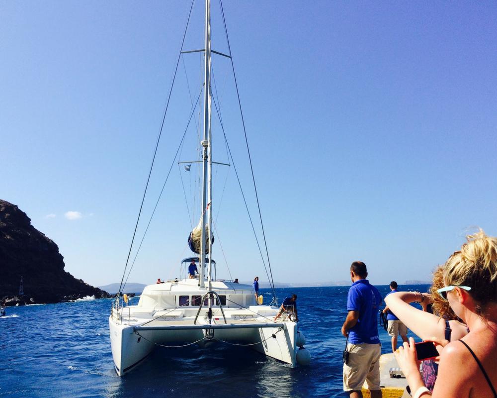 Yogis waiting to get onto Catamaran