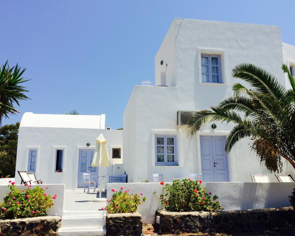 Exterior of hotel in Santorini