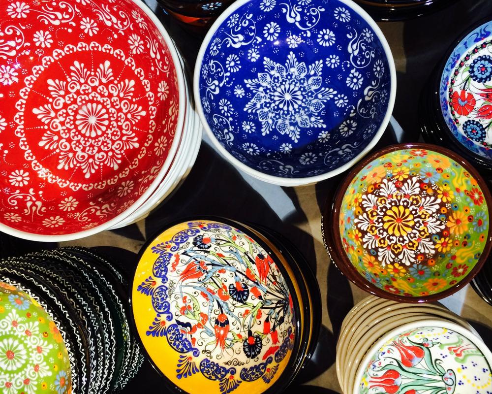 Colourful ceramic bowls from Santorini