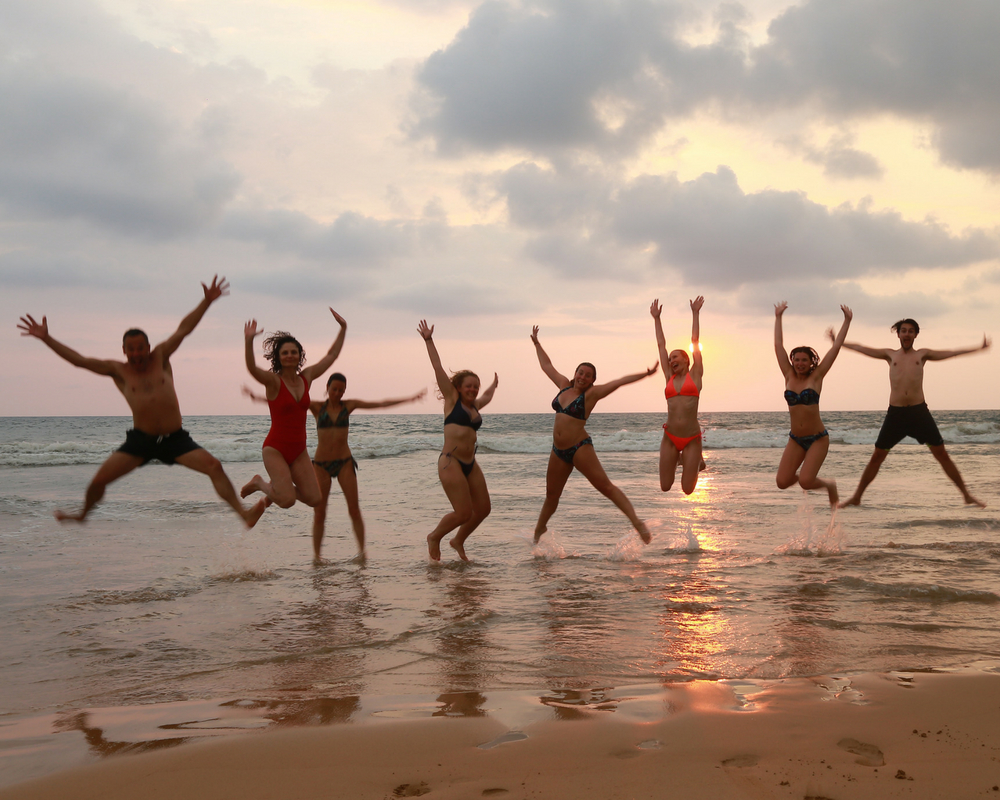 Jumping yogis in sea