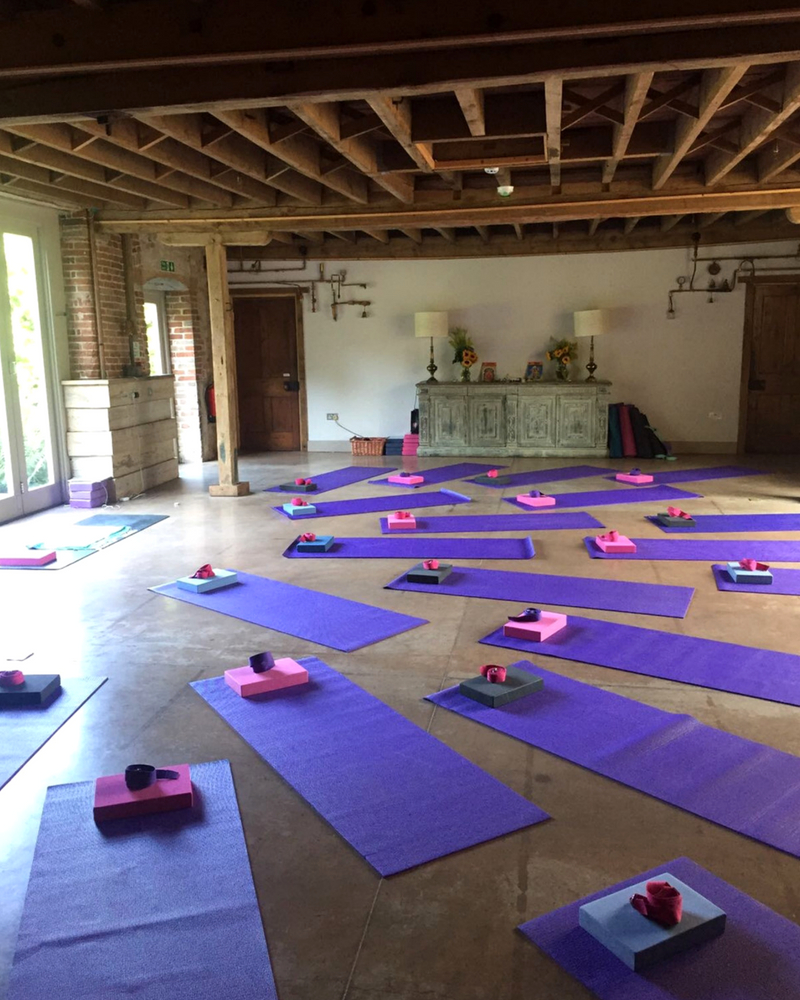 yoga mats with blocks and straps in yoga room - easter yoga retreat norfolk