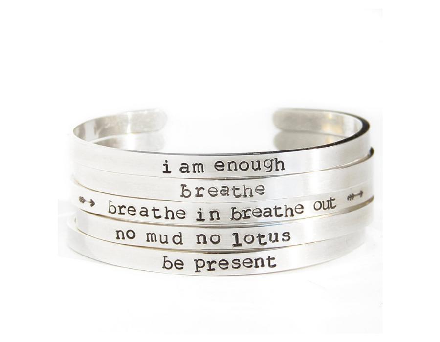 stack silver bracelet mantras