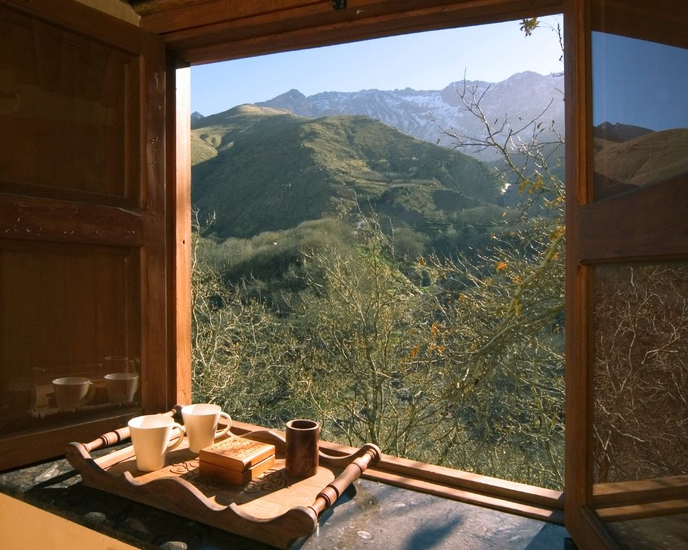 view from deluxe twin room atlas mountains morocco yoga holiday