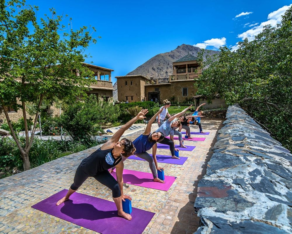 yoga class outside atlas mountains