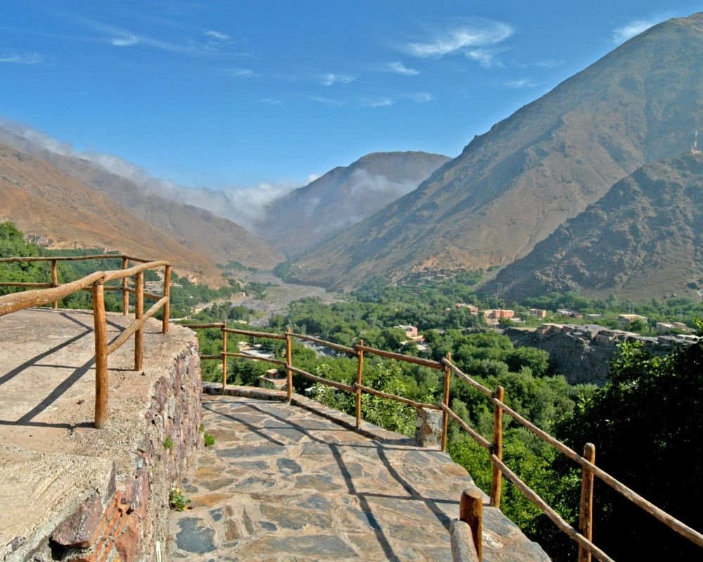view of valley atlas mountains morocco