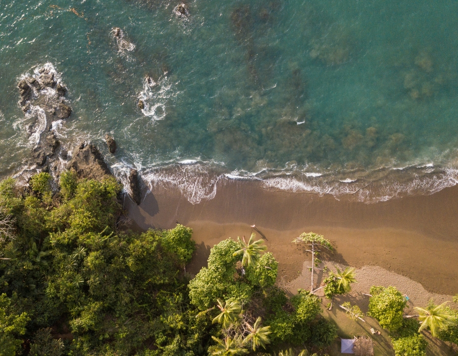 aerial view of coastline - yoga holiday costa rica