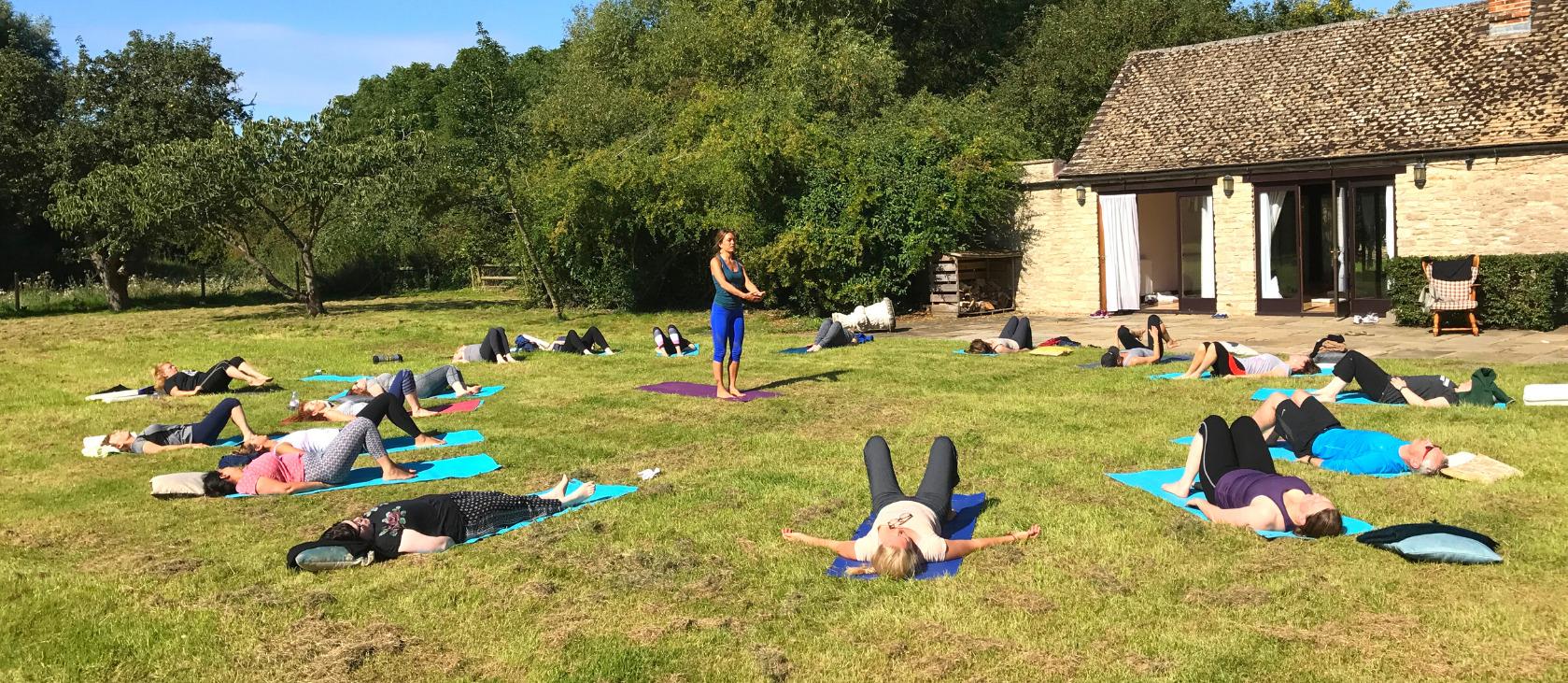 yoga outside on grass