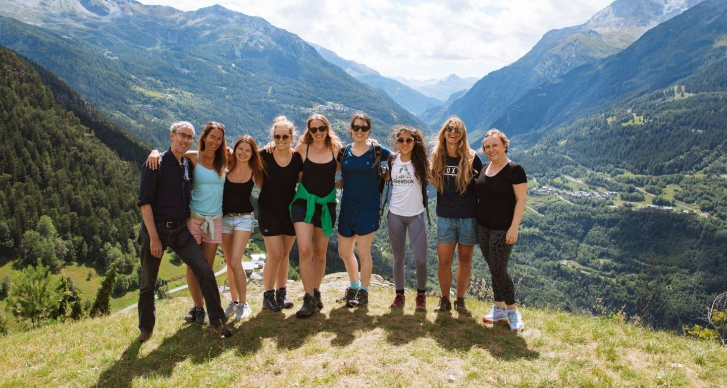 yogi group photo on mountain french alps