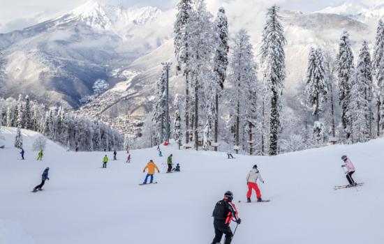 skiers on piste slovakia