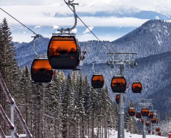 ski lifts snowy trees, mountains, pistes - skiing yoga slovakia