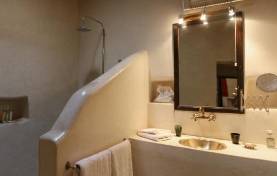 bathroom sink, mirror shower yoga holiday Marrakech