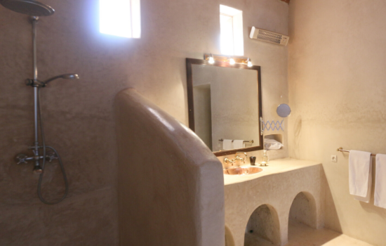 bathroom sink and shower yoga holiday Marrakech