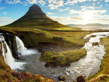 Icelandic landscape waterfall and river adventure yoga holiday Iceland