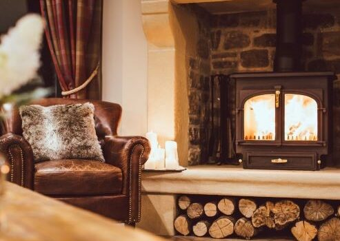 winter fire siting room peak district retreat
