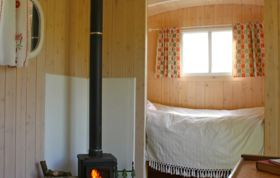 single shepherds hut and woodburner glamping eco yoga retreat